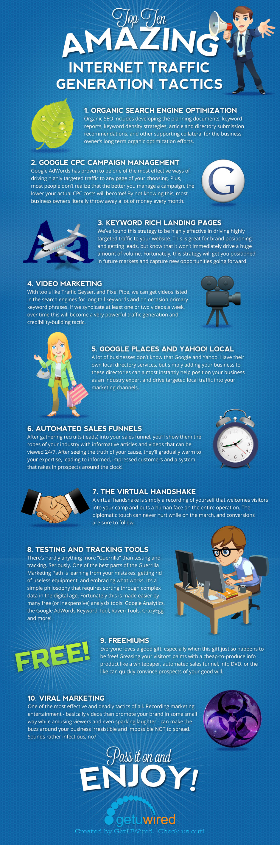 infographic: Top 10 Easy and Effective Internet Traffic Generation Tactics for beginners
